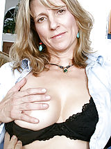 Milf Pics: Blonde Anilos cougar Berkley shows off her perky tits and dripping pussy