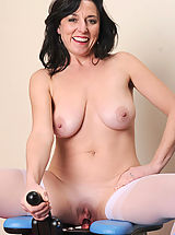 Big.Tits Babes: Attractive milf Karen Kougar has fun as she skillfully rides the monkey rocker