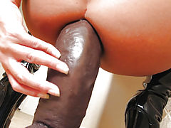 Cheyenne Fucking A Thick Brown Dildo
