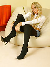 Pantyhose Babes: Lucy Anne looking as gorgeous as ever with denim mini and wool pantyhose