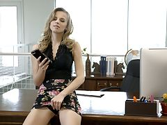Secretary Jillian Janson is fucking her boss by lifting her miniskirt and letting him feast on and screw her greedy pussy