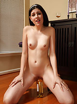 Squirting Slit, Teen Rams Wine Bottle and Spreads Pussy with Candles