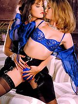Suze Randall Pics: Jazz, a sexy stripper from the South with amazing puffy nipples, gets cozy with a beautiful brunette.