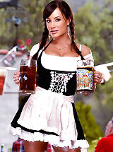 Suze Randall Pics: Luscious Lisa Ann is ready to serve you up a tall, cold one in one of her gigantic jugs but wants a hot, fat one in return!
