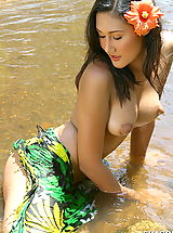Seductive Babe, Asian Women sharon 03 puffy nipples river water