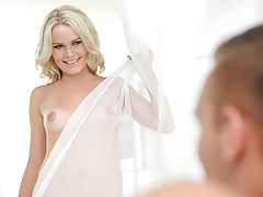 Windswept blonde Claudia Macc does a hot dance then climbs aboard for a lusty 69 and a stiffie ride in her bald pussy