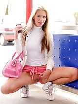 UpSkirts Babes: Suzanna shows off her sweet pussy