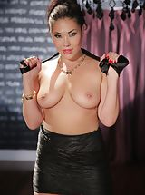 big dildo, Mick Blue, London Keys Amazing Babe shows her uncovered fun bags, draws down her panties and opens her legs and hand fucks her tight-fitting cunt
