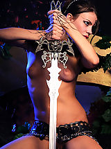 True Beauty Pics: Naked gorgeous warrior naked with the steel sword