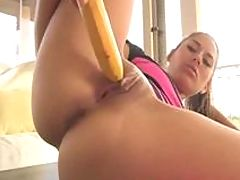 Naked Babe, Shyla in leg warmers uses a banana