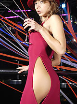 Secretary Babes: Hot blond babe Tara undressing on the stage in disco club