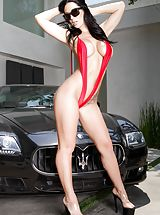 Jayden Jaymes Sinful Slut shows her naked titties, draws down her underwear and opens her thighs and fingers her moist snatch
