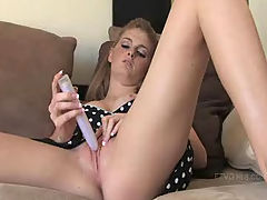 Faye plays with her new toy
