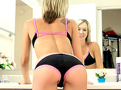 Naked Babe, Nubile Amybrooke bends over in her booty shorts