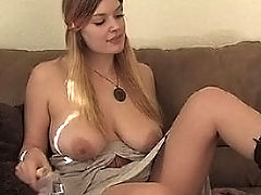 Danielle bangs herself with a dildo