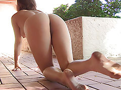 Stacey masturbating outside
