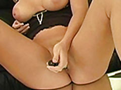 Alison Angel plays with her new dildo